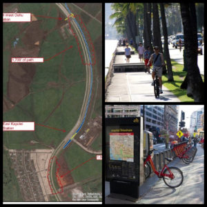 triptych showing bikeshare example, current ala wai path, and proposed bike paths to kapolie rail station